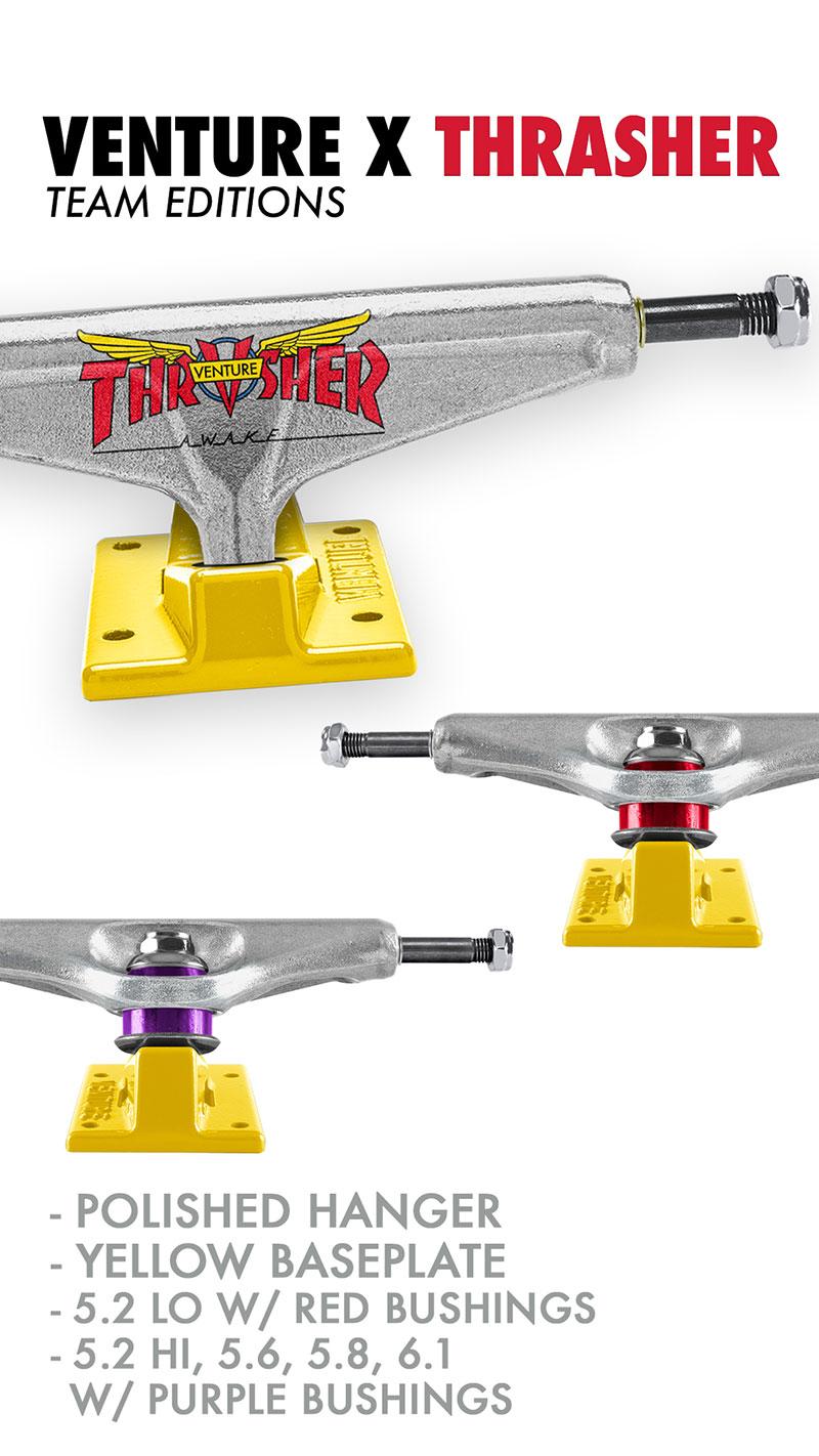 Set of 2 5.25 Hanger 8.0 Axle Venture Trucks Trent McClung Team V-Lights Low White//Black Skateboard Trucks